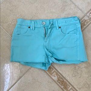 NWOT Madewell aqua blue jean cut off shorts